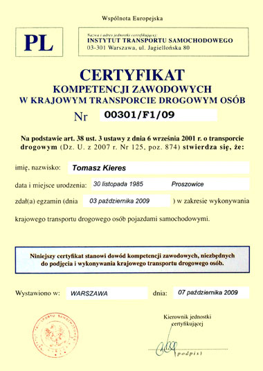 Certificate of Professional Competence in People's Transportation