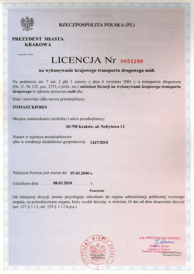 Passengers Transportation License